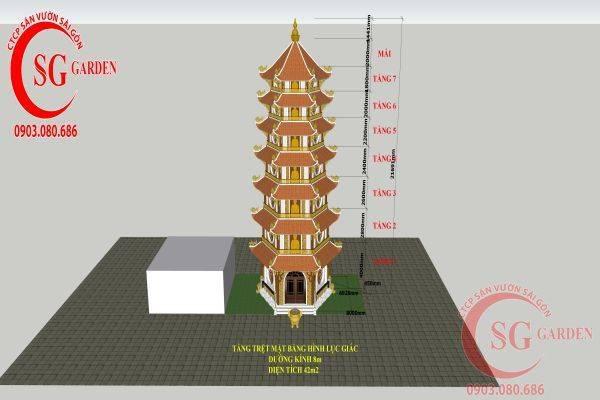 Thiết kế tháp bảy tầng chùa Bảo Quang 9